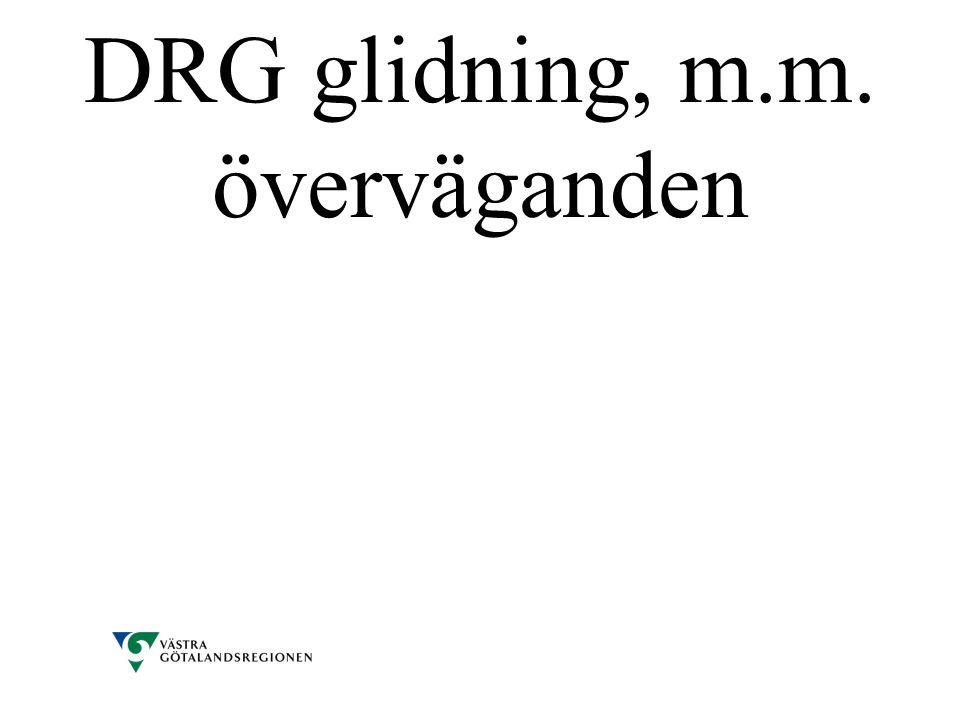 DRG glidning, m.m. överväganden