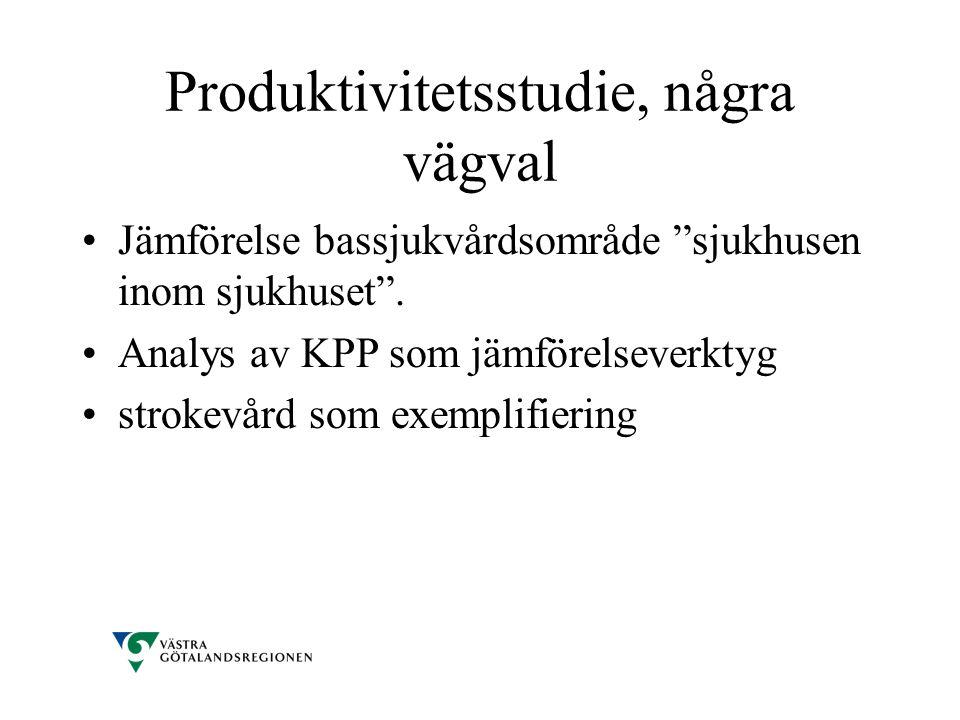 Produktivitetsstudie, några vägval