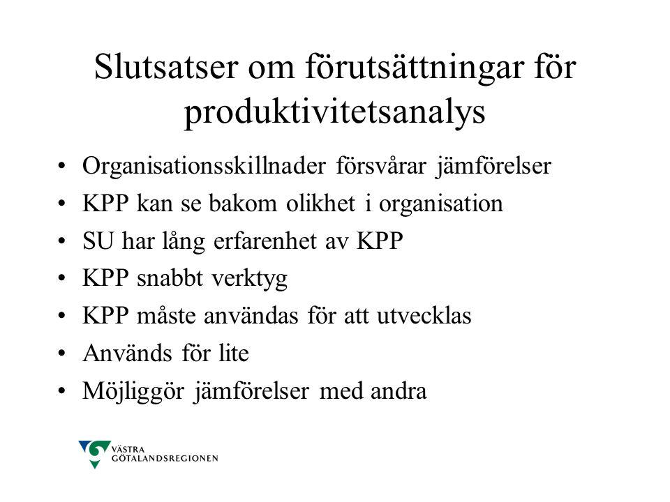 Slutsatser om förutsättningar för produktivitetsanalys