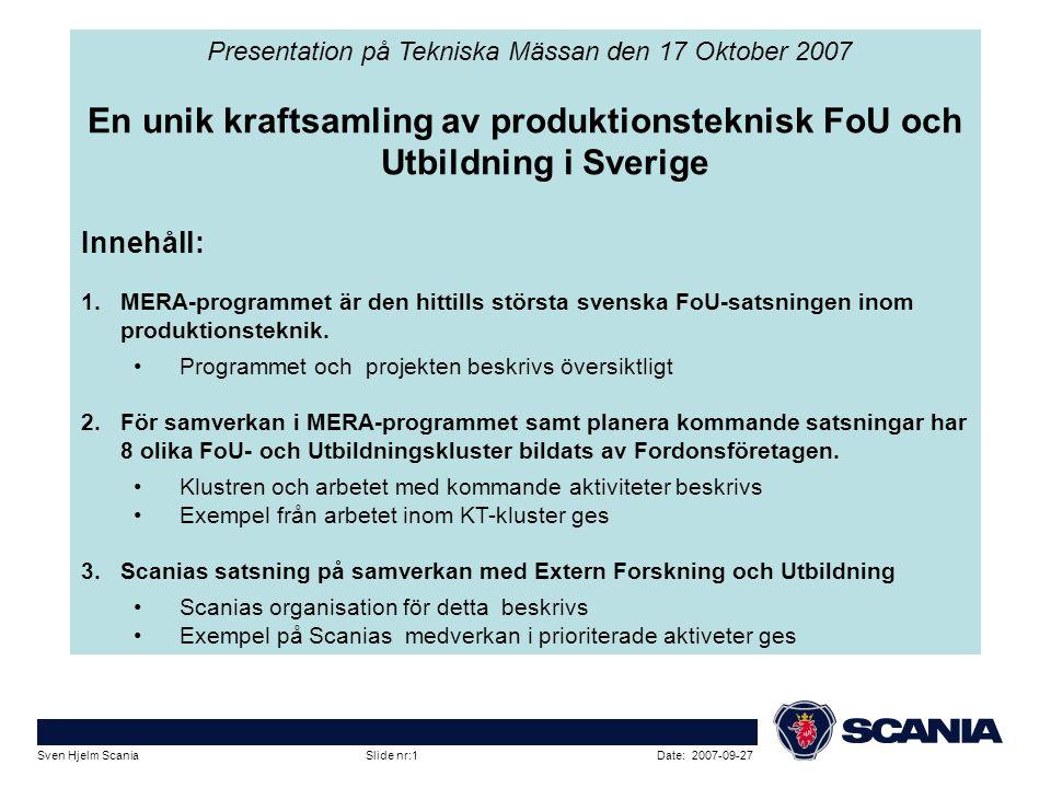 Presentation på Tekniska Mässan den 17 Oktober 2007