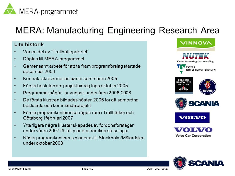 MERA: Manufacturing Engineering Research Area