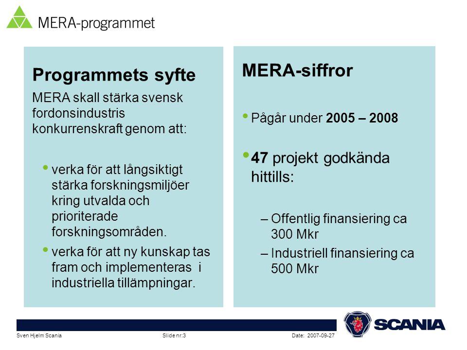 MERA-siffror Programmets syfte 47 projekt godkända hittills: