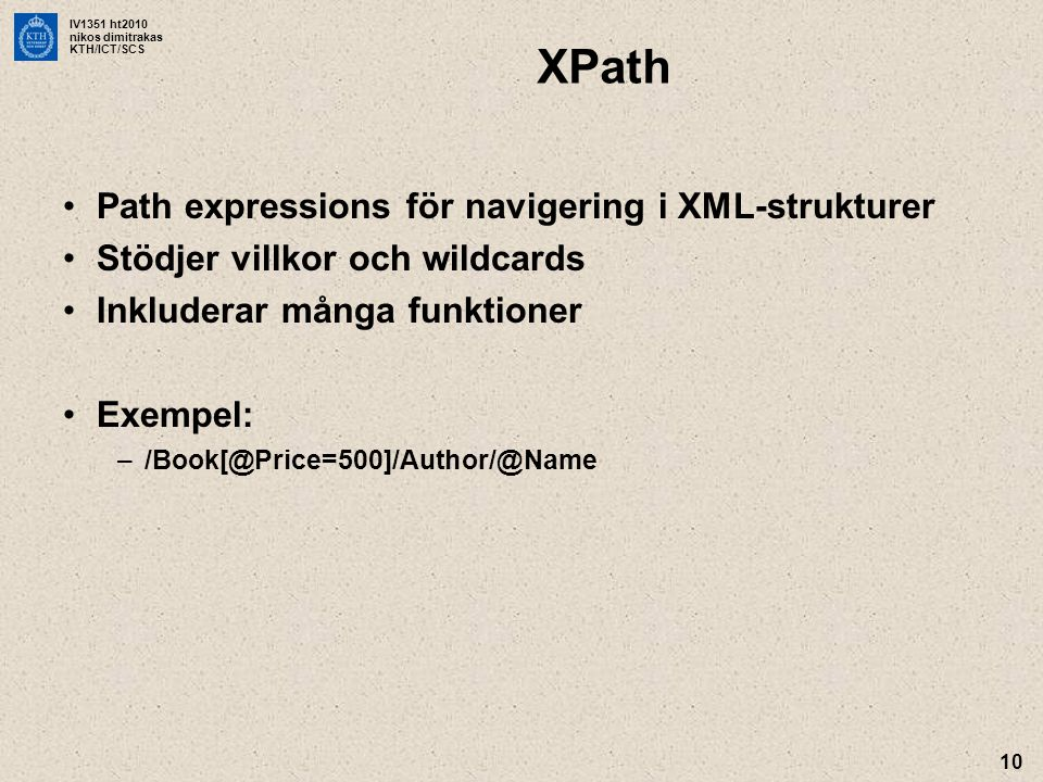XPath Path expressions för navigering i XML-strukturer