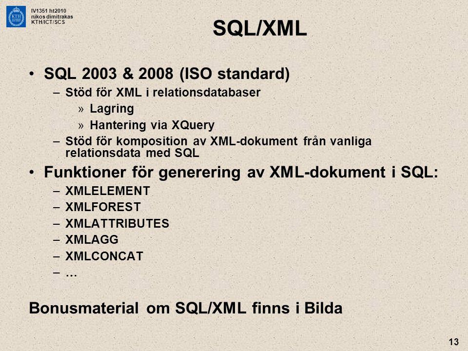 SQL/XML SQL 2003 & 2008 (ISO standard)