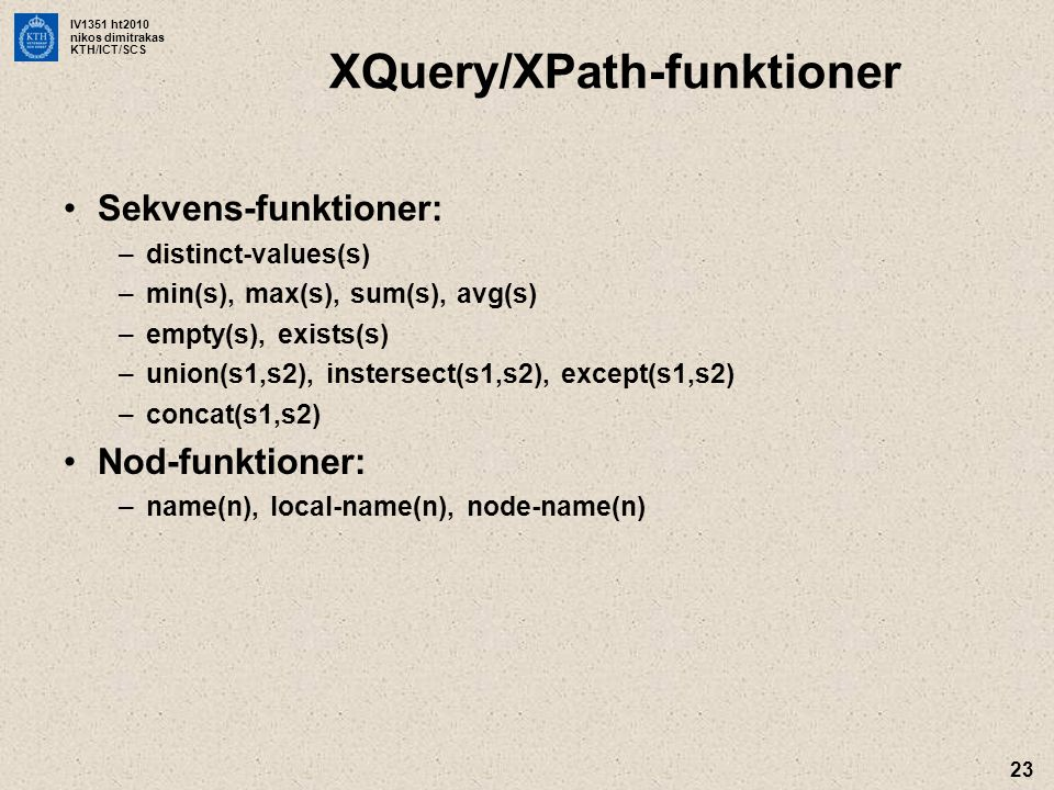 XQuery/XPath-funktioner