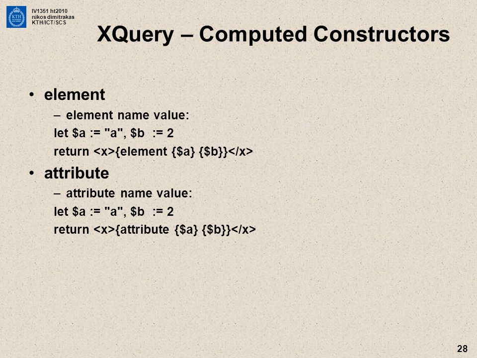 XQuery – Computed Constructors