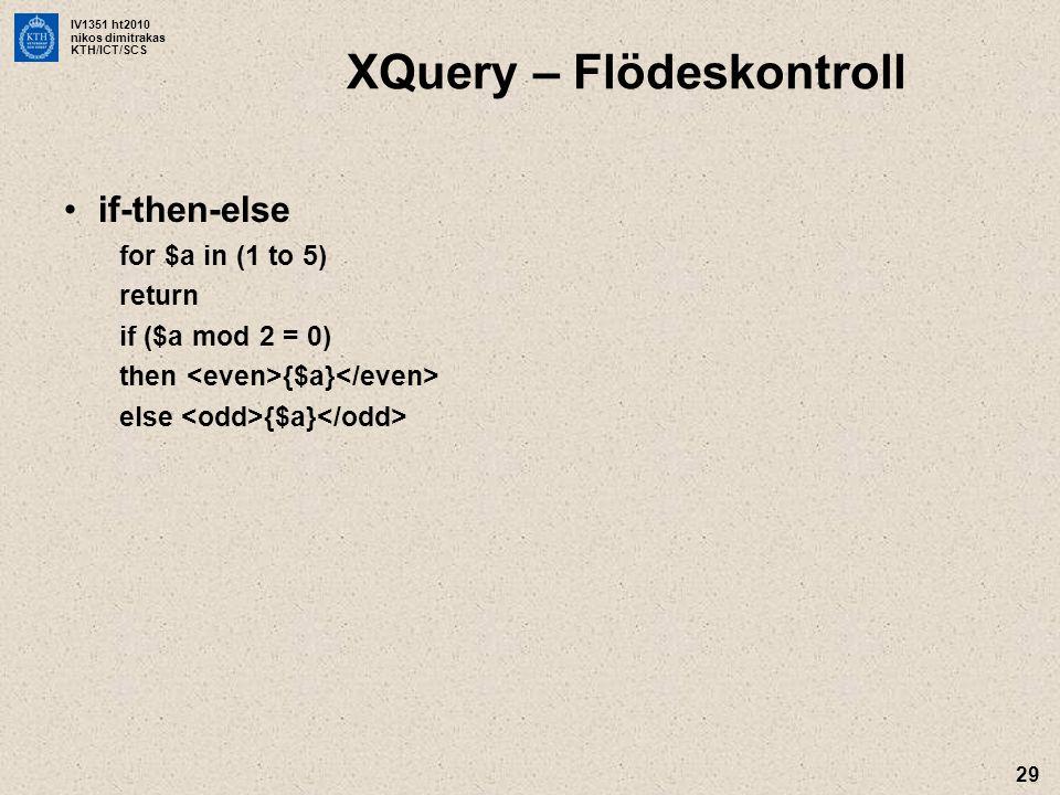 XQuery – Flödeskontroll