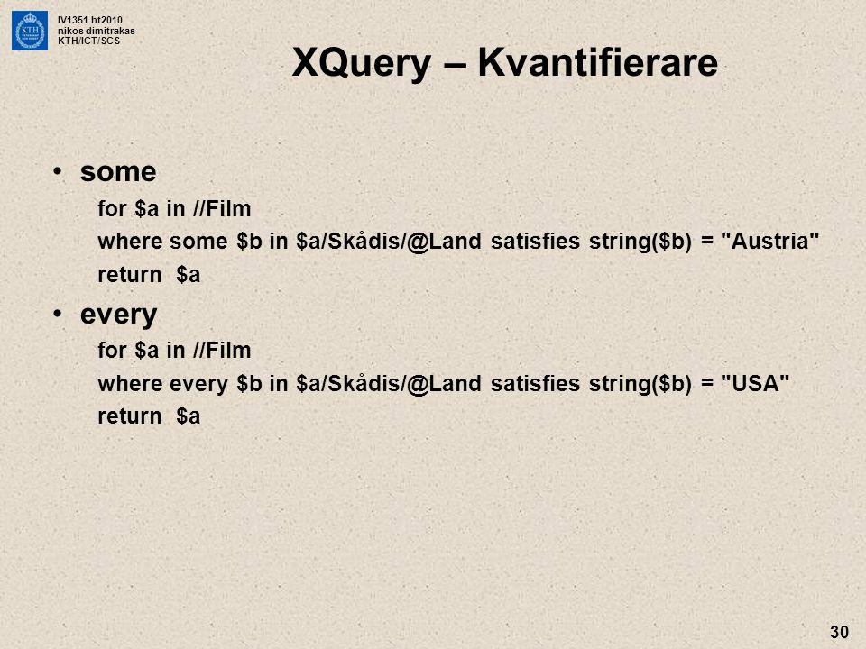 XQuery – Kvantifierare