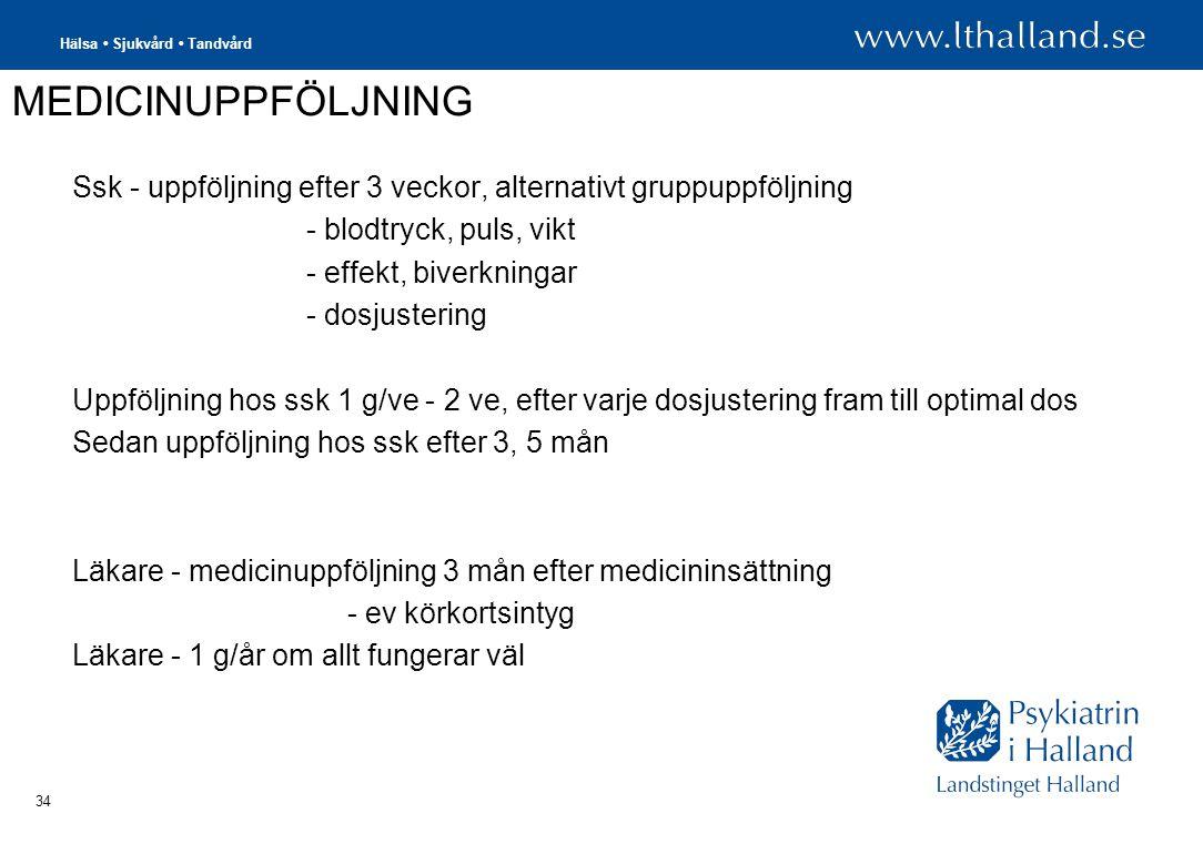 MEDICINUPPFÖLJNING Ssk - uppföljning efter 3 veckor, alternativt gruppuppföljning. - blodtryck, puls, vikt.