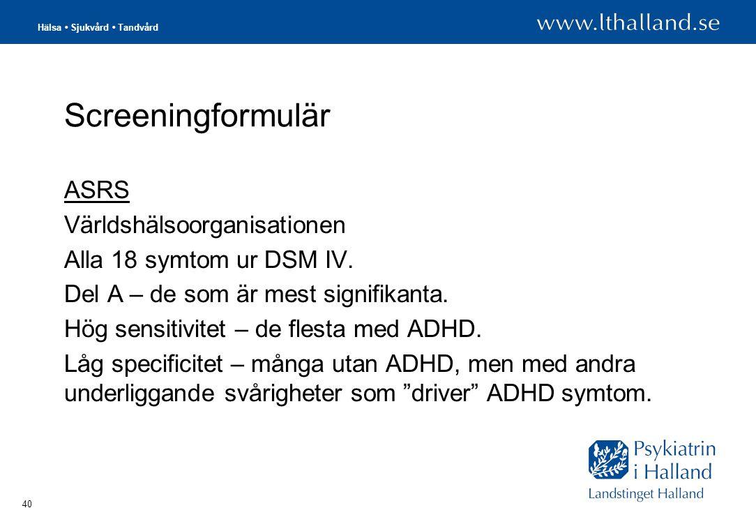 Screeningformulär ASRS Världshälsoorganisationen