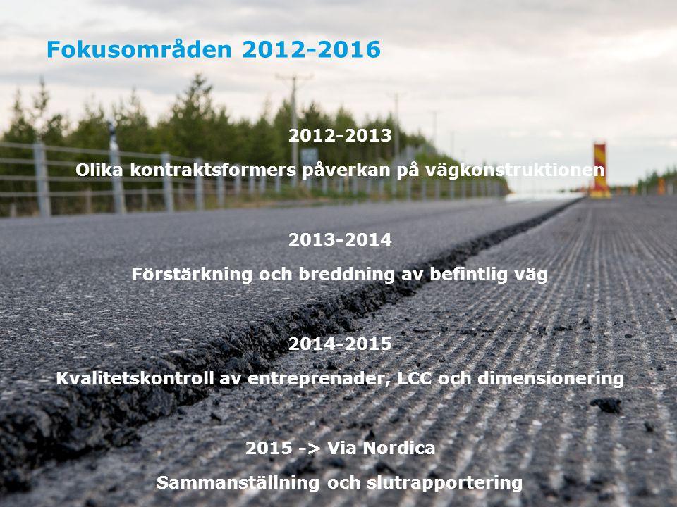 Fokusområden 2012-2016 2012-2013. Olika kontraktsformers påverkan på vägkonstruktionen. 2013-2014.