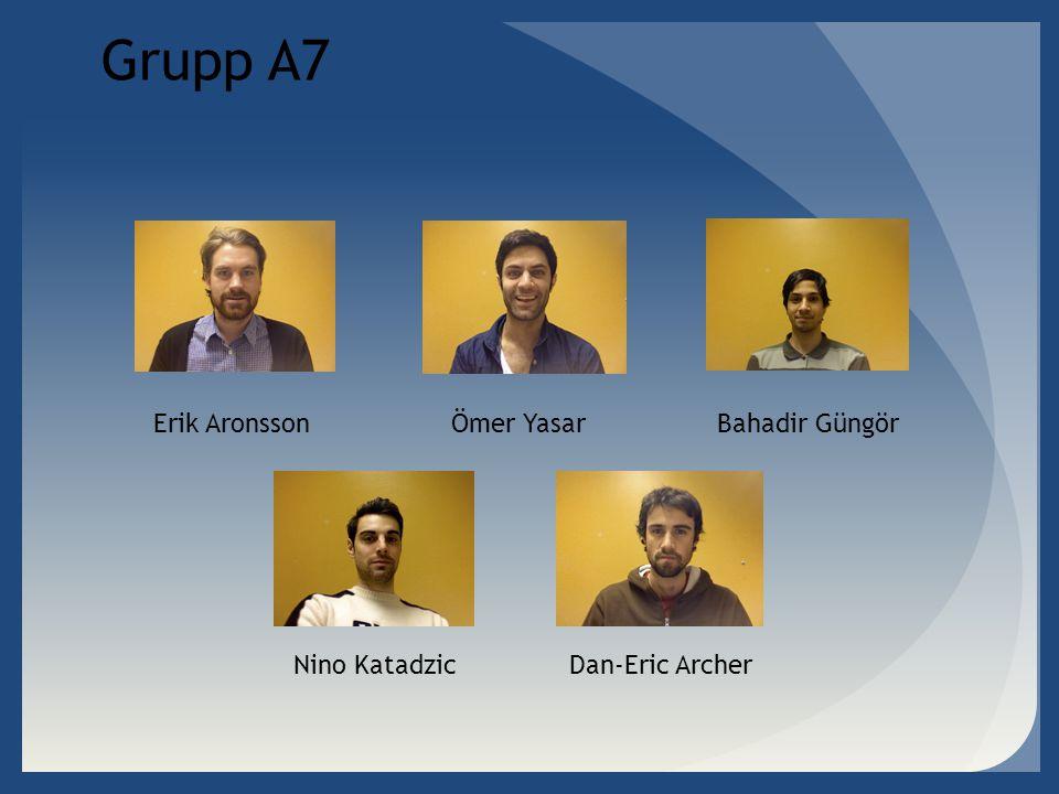 Grupp A7 Erik Aronsson Ömer Yasar Bahadir Güngör Nino Katadzic