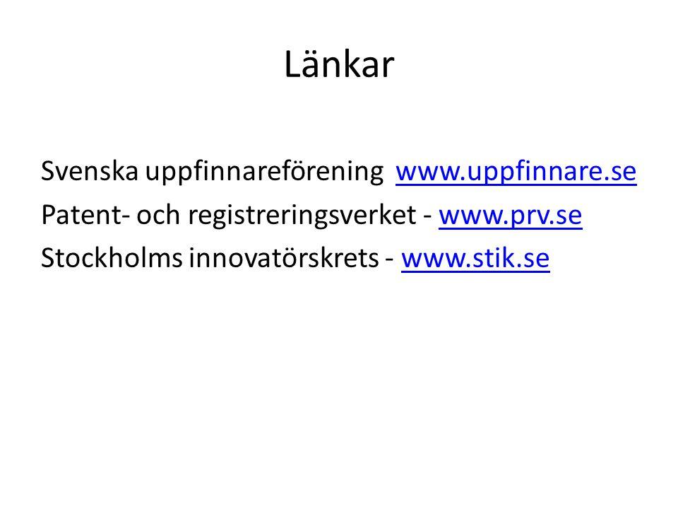 Länkar Svenska uppfinnareförening www.uppfinnare.se