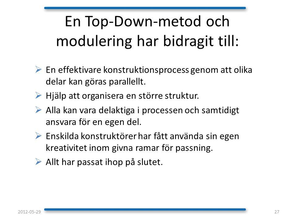 En Top-Down-metod och modulering har bidragit till: