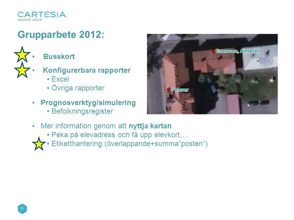 Grupparbete 2012: Busskort Konfigurerbara rapporter Excel