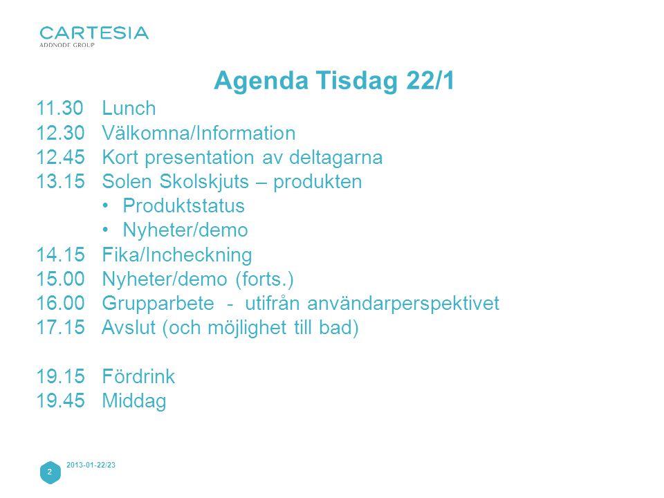 Agenda Tisdag 22/1 11.30 Lunch 12.30 Välkomna/Information