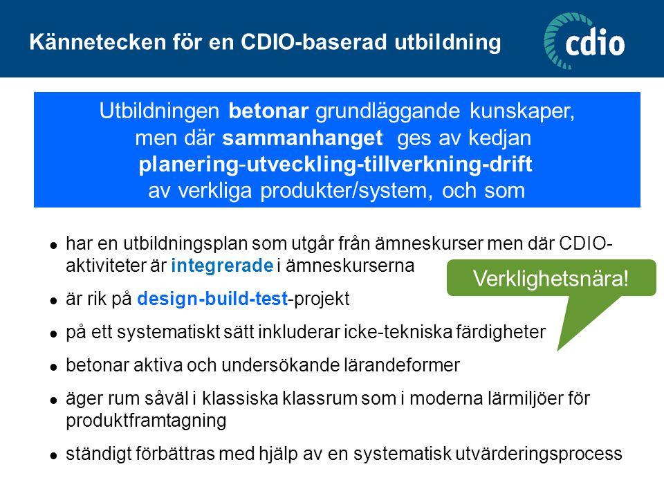 Kännetecken för en CDIO-baserad utbildning