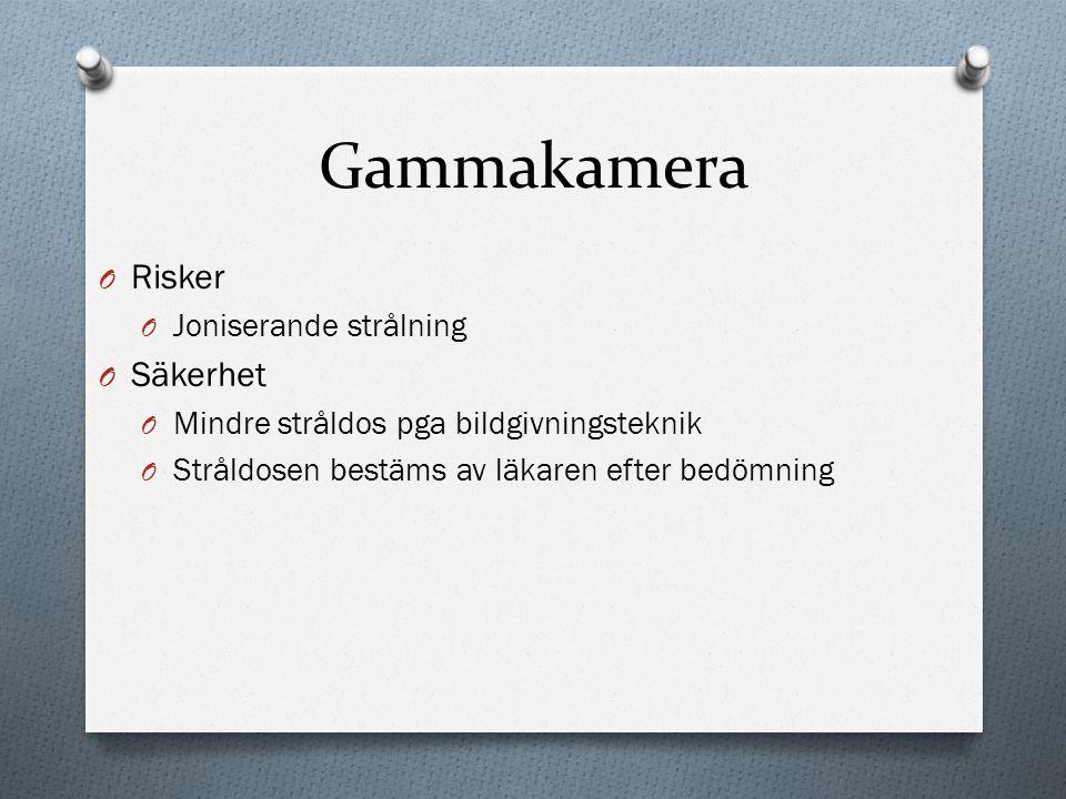 Gammakamera Risker Säkerhet Joniserande strålning