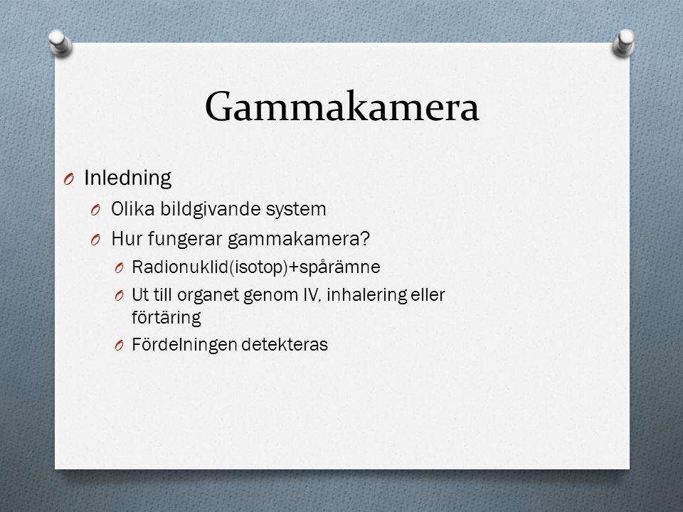 Gammakamera Inledning Olika bildgivande system