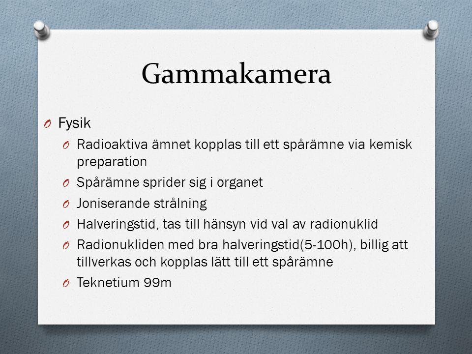 Gammakamera Fysik. Radioaktiva ämnet kopplas till ett spårämne via kemisk preparation. Spårämne sprider sig i organet.
