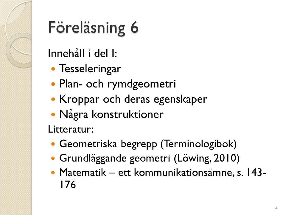 Föreläsning 6 Innehåll i del I: Tesseleringar Plan- och rymdgeometri