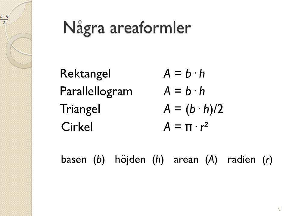 Några areaformler Rektangel A = b· h Parallellogram A = b· h
