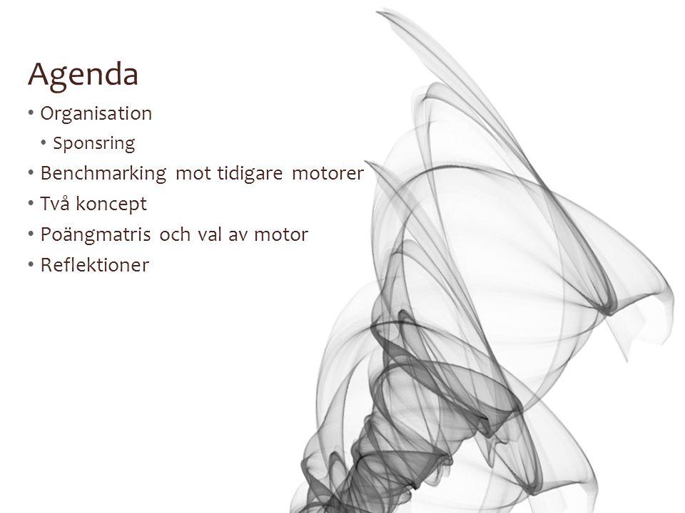 Agenda Organisation Benchmarking mot tidigare motorer Två koncept