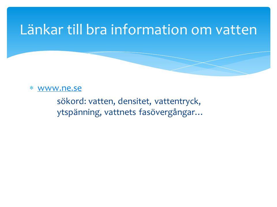 Länkar till bra information om vatten