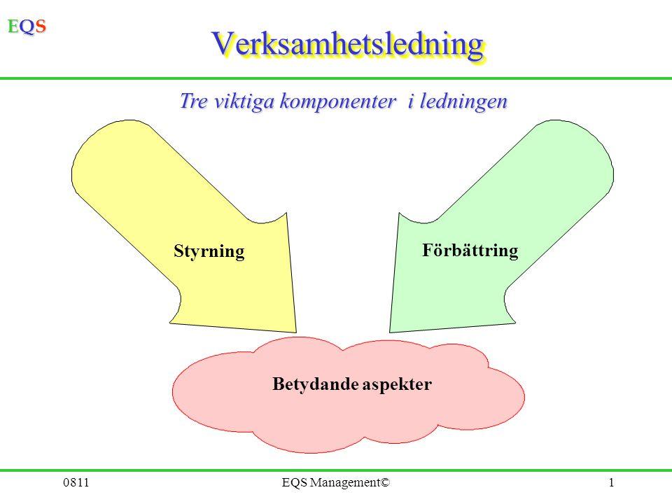 Verksamhetsledning Tre viktiga komponenter i ledningen Styrning