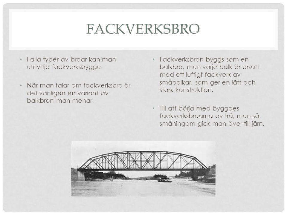 FACKVERKSBRO I alla typer av broar kan man utnyttja fackverksbygge.