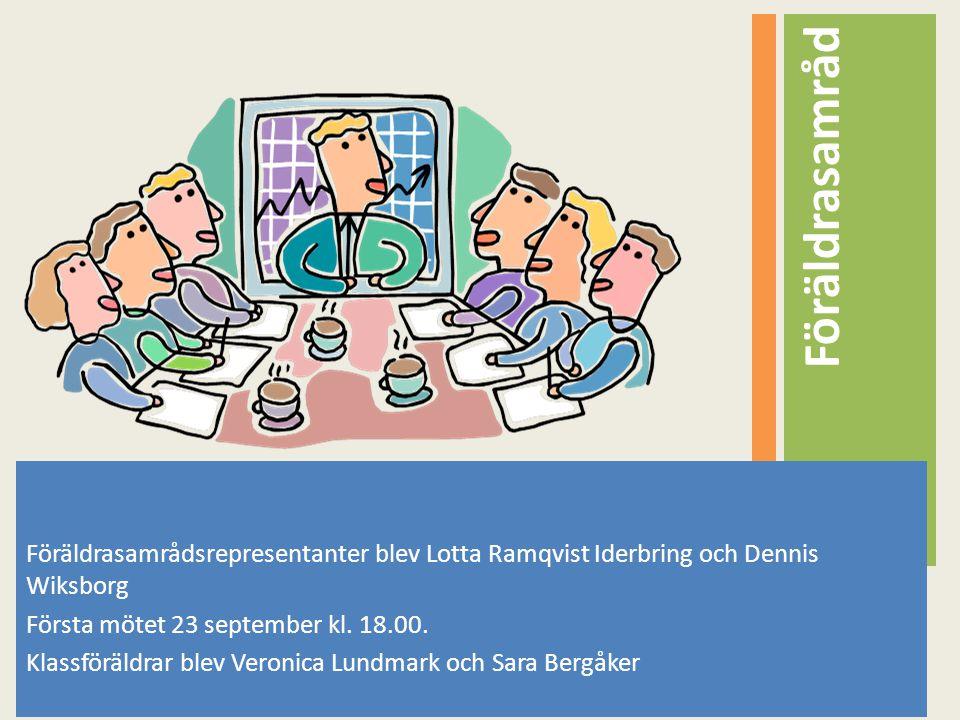 Föräldrasamråd Föräldrasamrådsrepresentanter blev Lotta Ramqvist Iderbring och Dennis Wiksborg. Första mötet 23 september kl. 18.00.