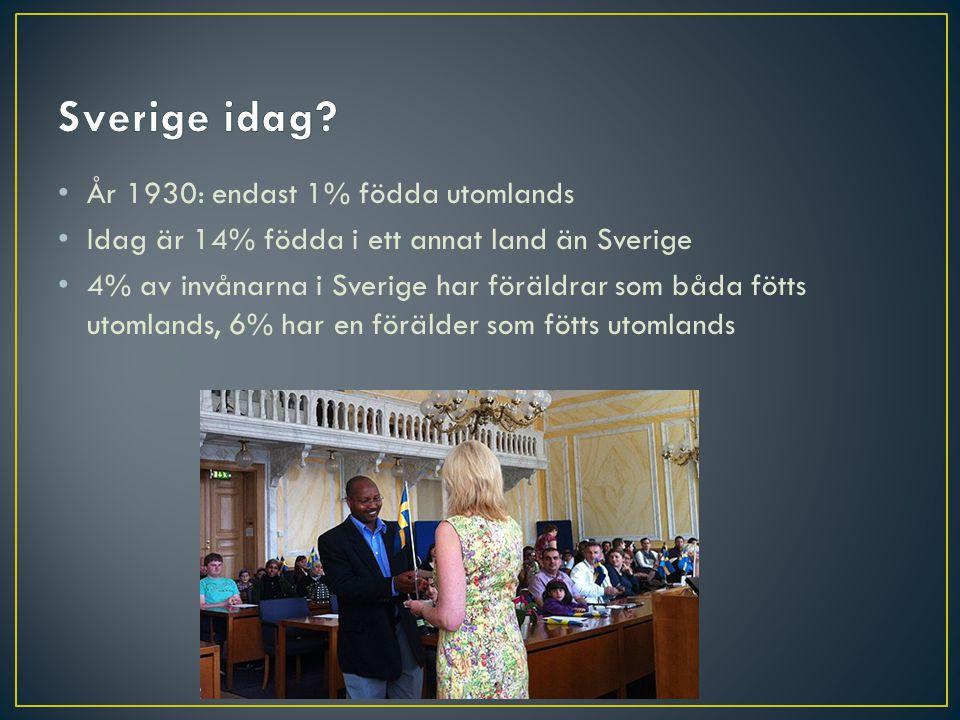 Sverige idag År 1930: endast 1% födda utomlands