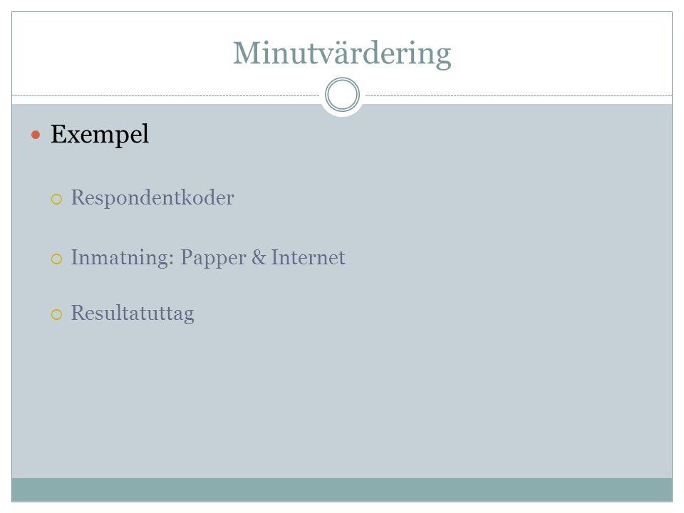 Minutvärdering Exempel Respondentkoder Inmatning: Papper & Internet