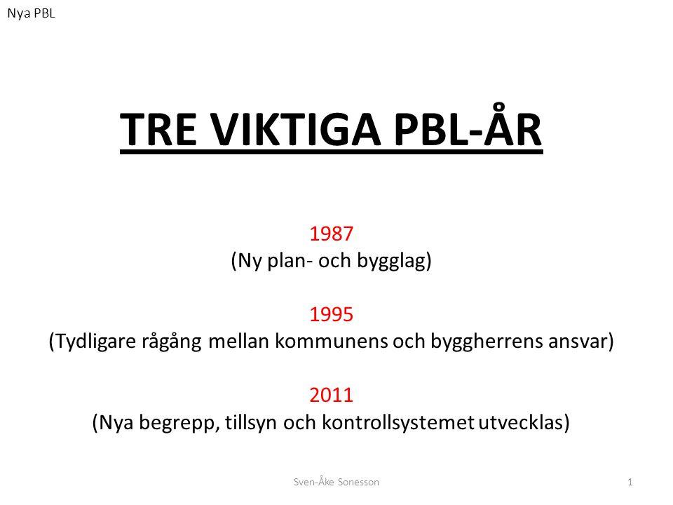 TRE VIKTIGA PBL-ÅR 1987 (Ny plan- och bygglag) 1995