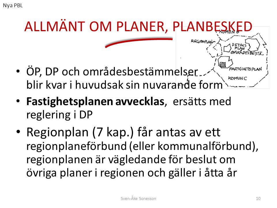ALLMÄNT OM PLANER, PLANBESKED