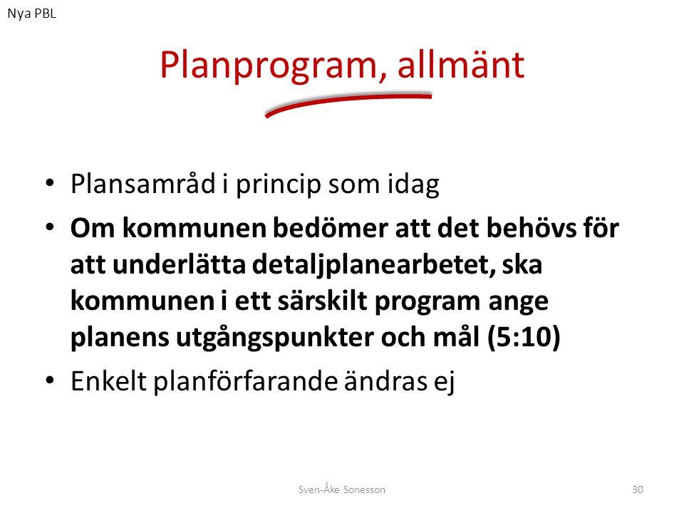 Planprogram, allmänt Plansamråd i princip som idag