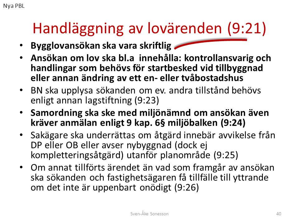 Handläggning av lovärenden (9:21)