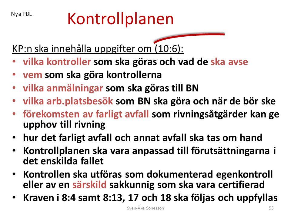 Kontrollplanen KP:n ska innehålla uppgifter om (10:6):