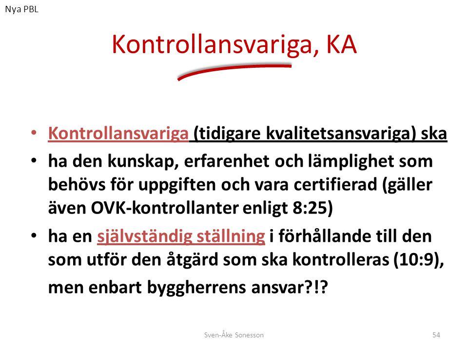 Nya PBL Kontrollansvariga, KA. Kontrollansvariga (tidigare kvalitetsansvariga) ska