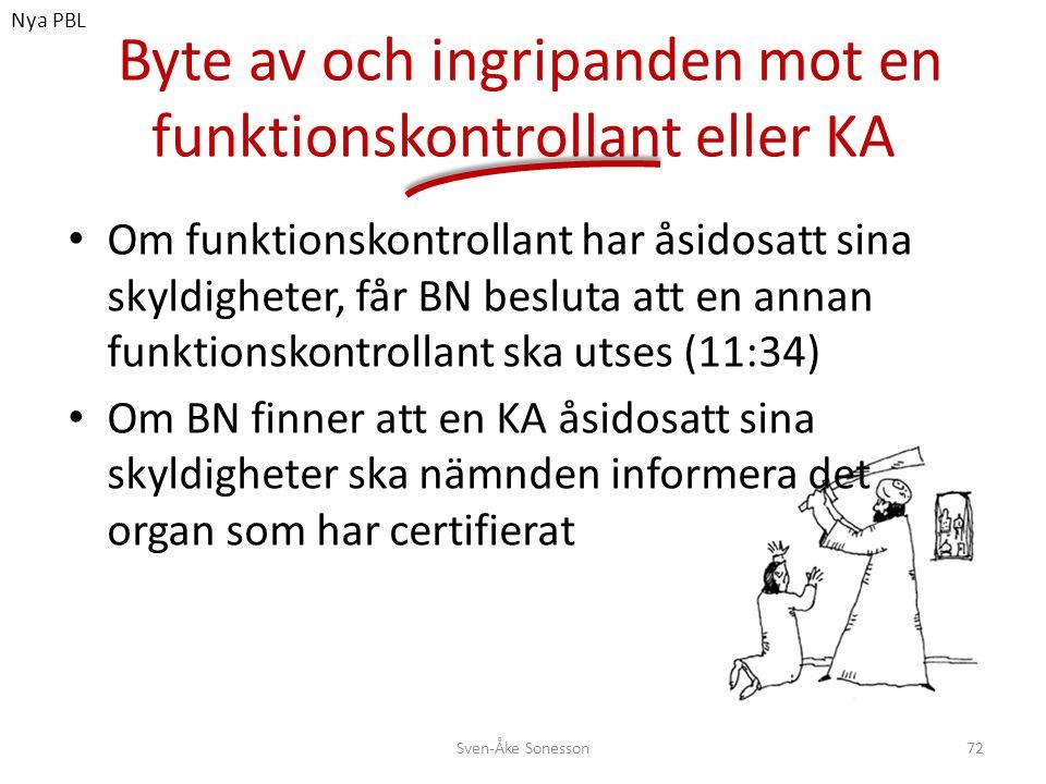 Byte av och ingripanden mot en funktionskontrollant eller KA