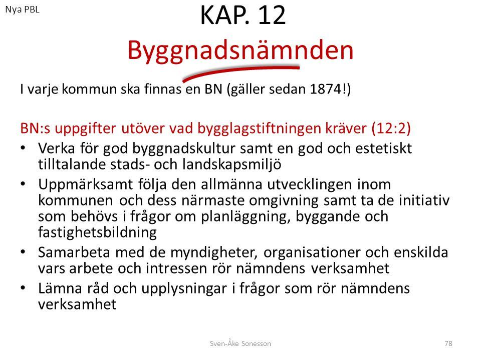 Nya PBL KAP. 12 Byggnadsnämnden. I varje kommun ska finnas en BN (gäller sedan 1874!) BN:s uppgifter utöver vad bygglagstiftningen kräver (12:2)