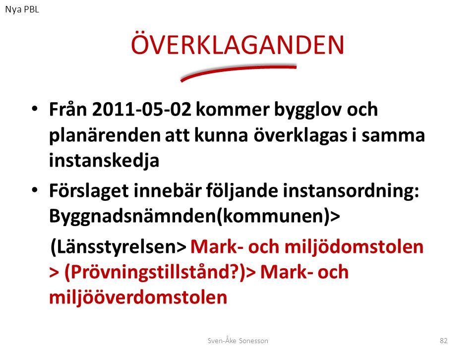 Nya PBL ÖVERKLAGANDEN. Från 2011-05-02 kommer bygglov och planärenden att kunna överklagas i samma instanskedja.