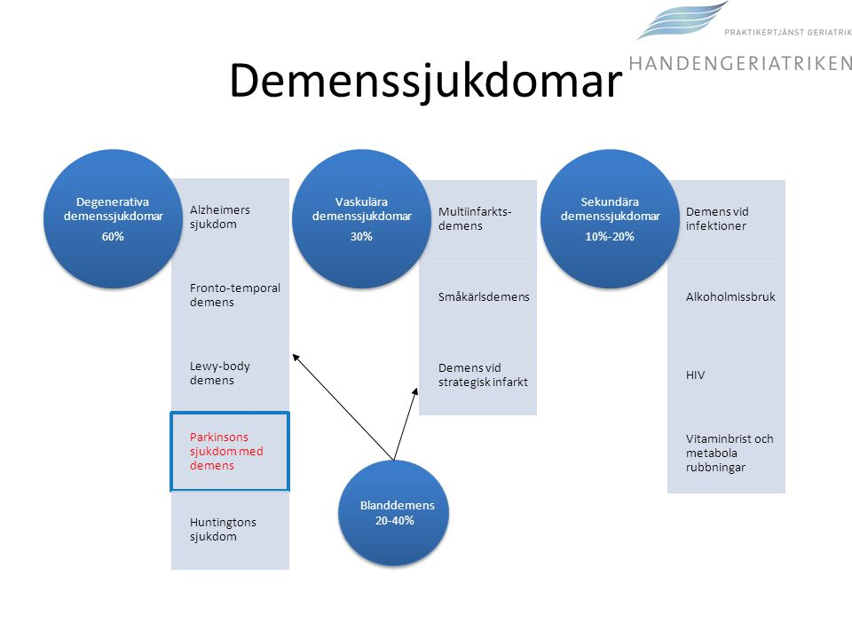 Demenssjukdomar Degenerativa demenssjukdomar 60% Blanddemens 20-40%