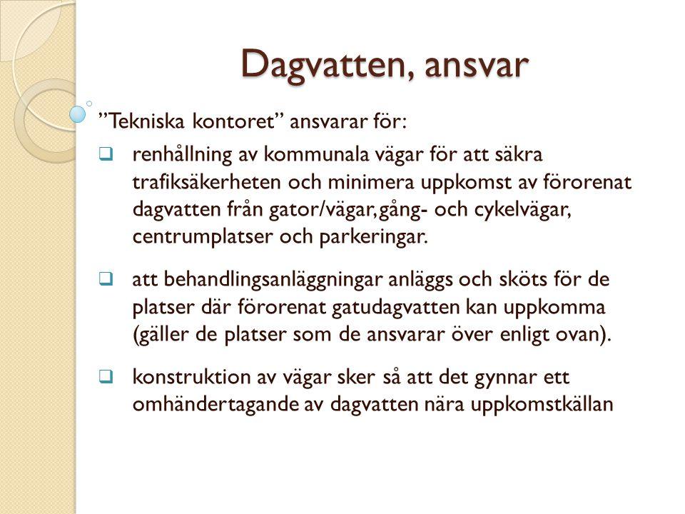 Dagvatten, ansvar Tekniska kontoret ansvarar för:
