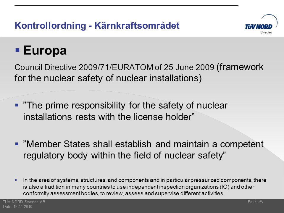 Kontrollordning - Kärnkraftsområdet