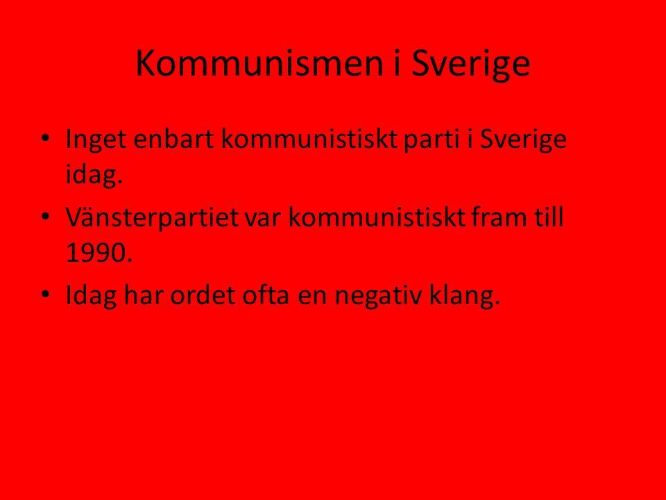 Kommunismen i Sverige Inget enbart kommunistiskt parti i Sverige idag.