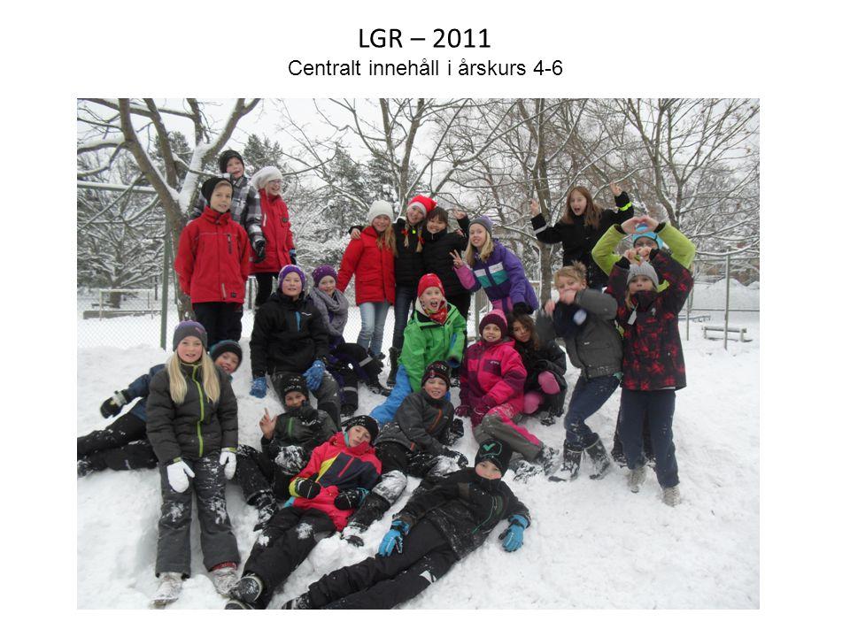 LGR – 2011 Centralt innehåll i årskurs 4-6