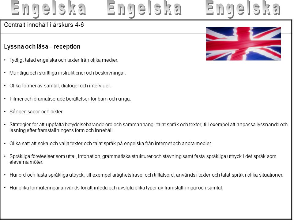 kunskapskrav engelska åk 6 matris