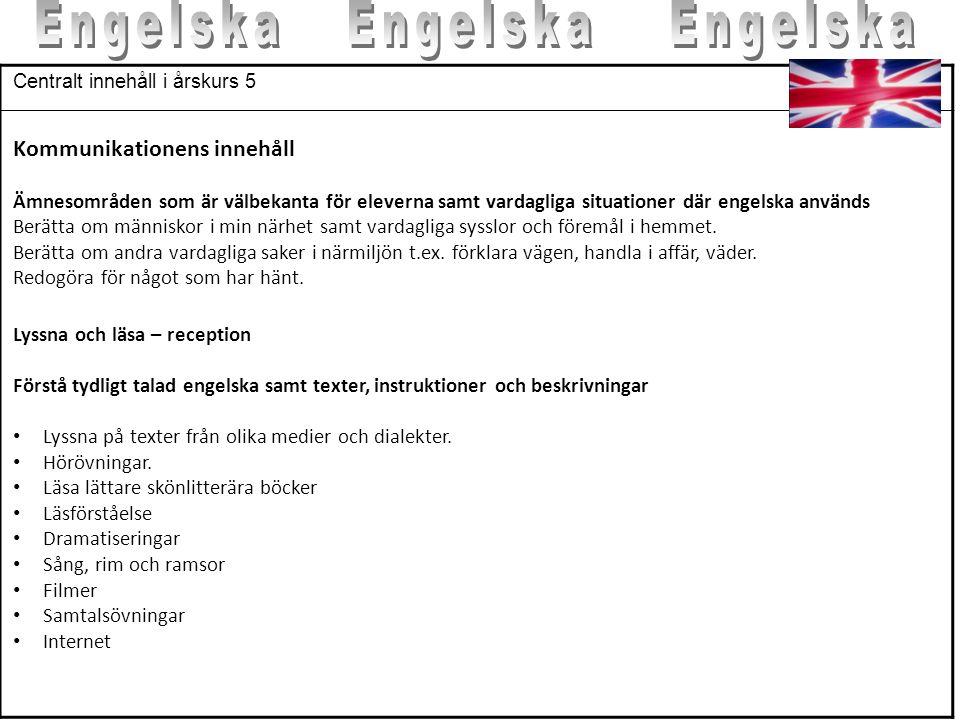 Engelska Engelska Engelska Kommunikationens innehåll