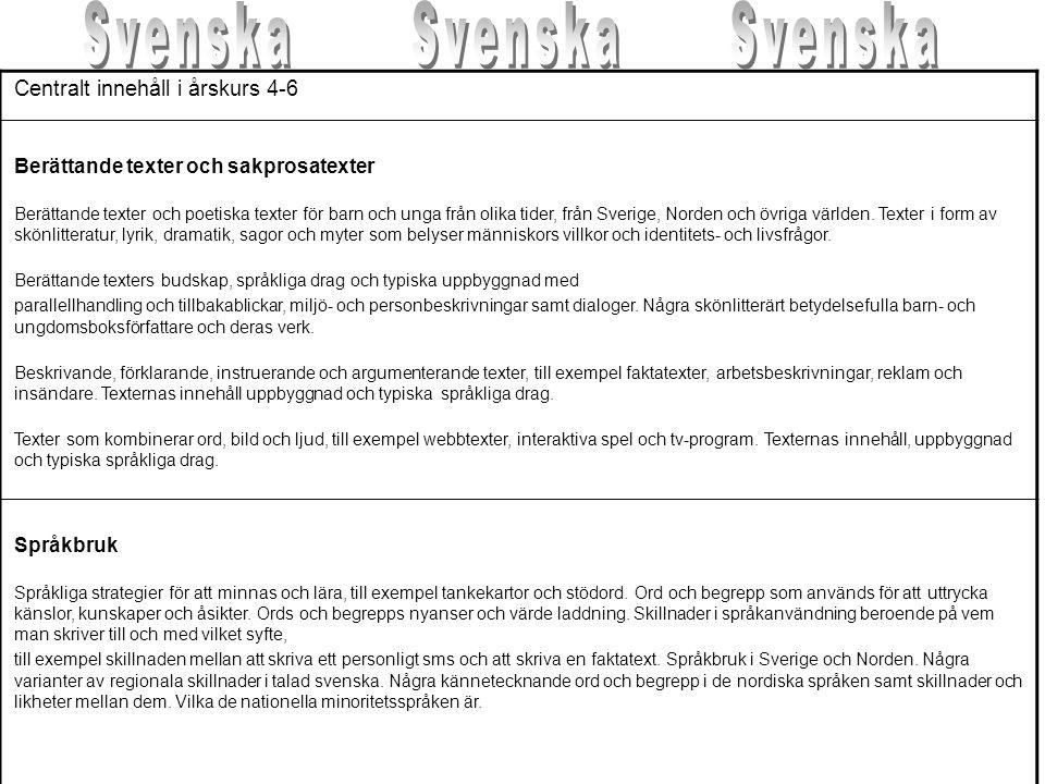 Svenska Svenska Svenska Centralt innehåll i årskurs 4-6